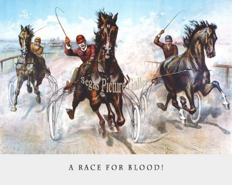 Fine art Horseracing Print of the 1800's Racing and Trotting of A Race for Blood